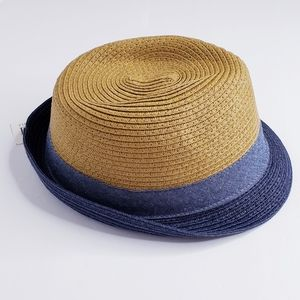 CHILDREN'S PLACE Blue and  Straw Fedora Hat